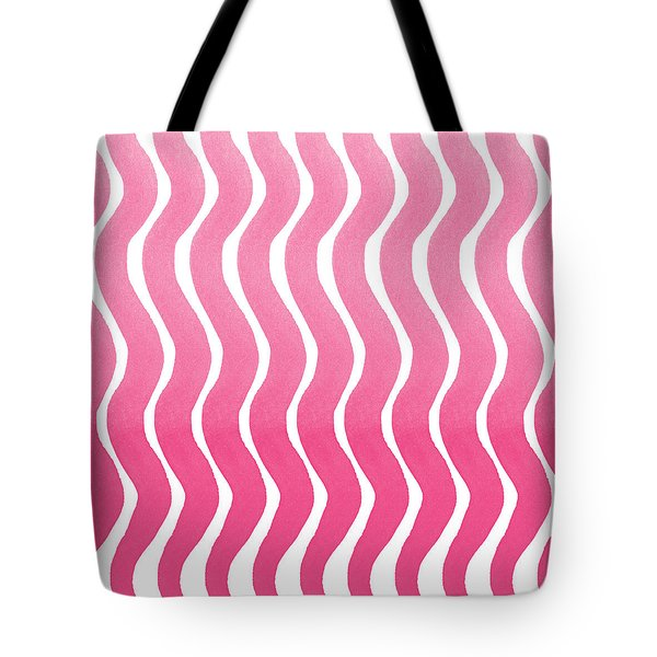 Pink Waves- Abstract Watercolor Pattern Tote Bag by Linda Woods