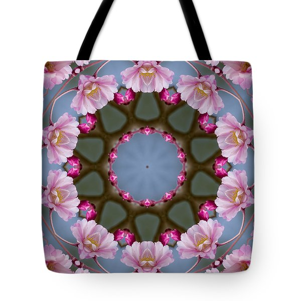 Pink Weeping Cherry Blossom Kaleidoscope Tote Bag by Kathy Clark