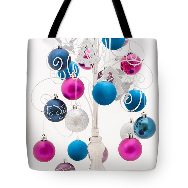 Pink White And Blue Christmas Tote Bag by Anne Gilbert