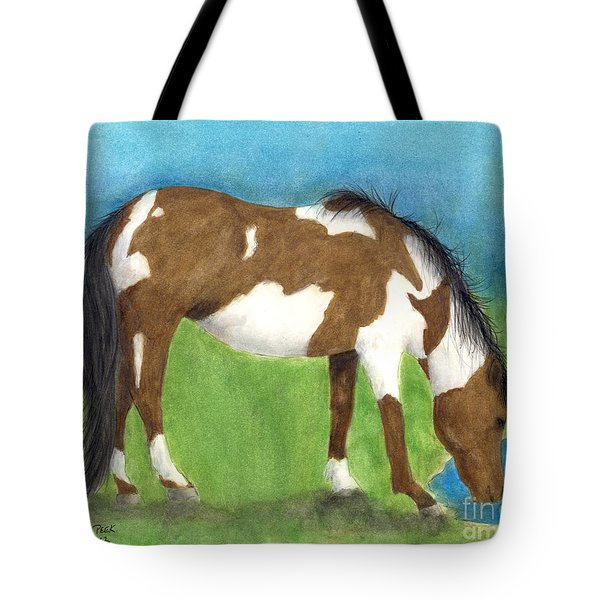Pinto Mustang Horse Mare Farm Ranch Animal Art Tote Bag by Cathy Peek