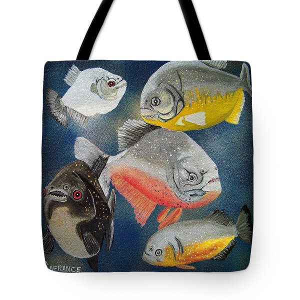 Pirahna  Fish Tote Bag by Debbie LaFrance
