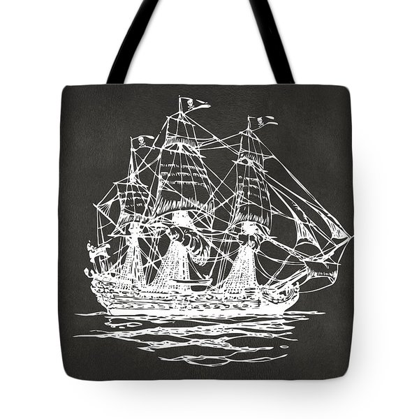 Pirate Ship Artwork - Gray Tote Bag by Nikki Marie Smith