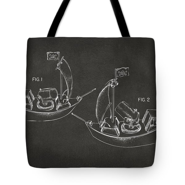Pirate Ship Patent Artwork - Gray Tote Bag by Nikki Marie Smith