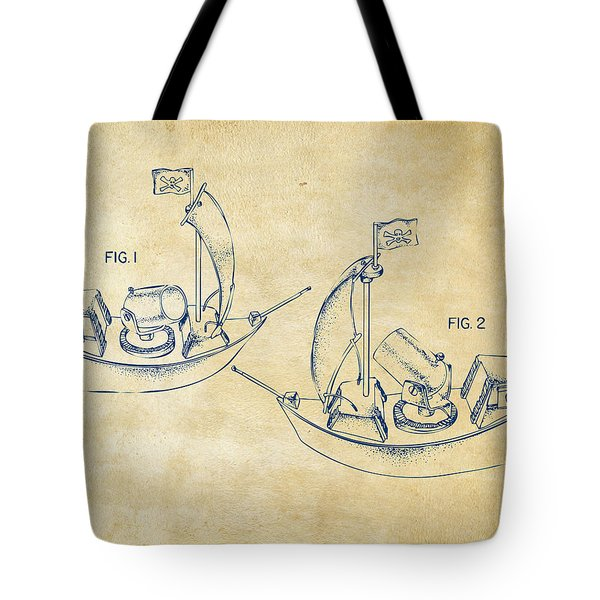 Pirate Ship Patent Artwork - Vintage Tote Bag by Nikki Marie Smith