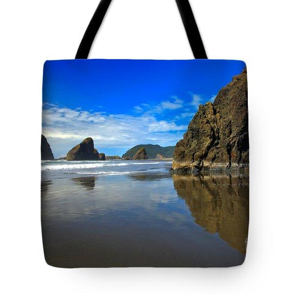 Pistol River Sea Stacks Tote Bag by Adam Jewell
