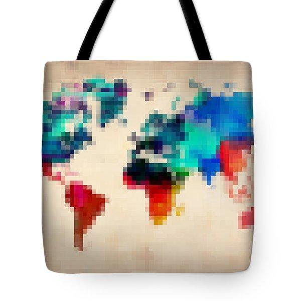 Pixelated World Map Tote Bag by Naxart Studio