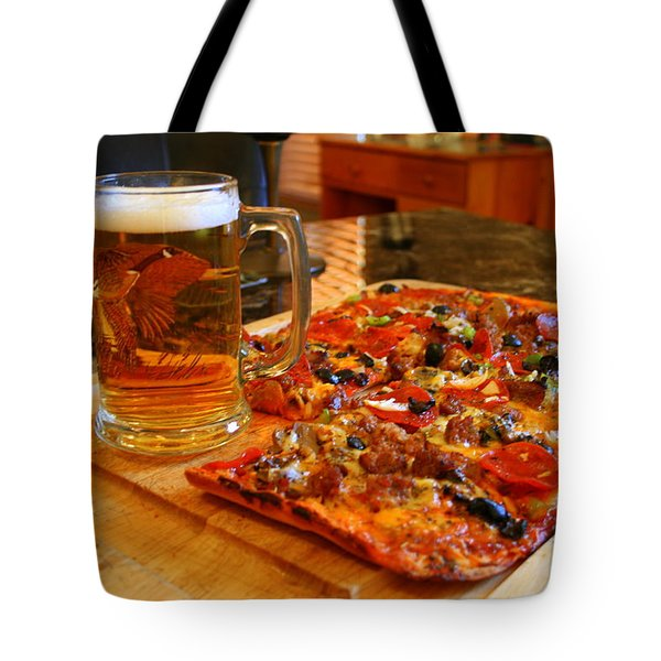 Pizza And Beer Tote Bag by Kay Novy