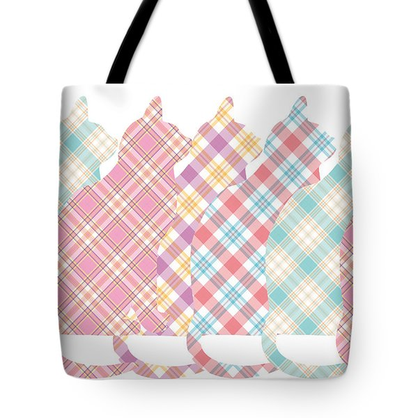 Plaid Cats Tote Bag by Peggy Collins