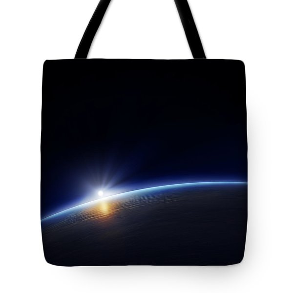 Planet Earth With Rising Sun Tote Bag by Johan Swanepoel