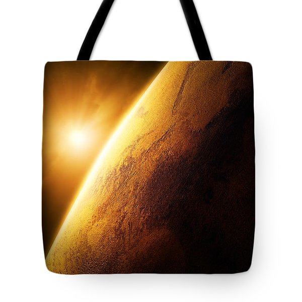 Planet Mars close-up with sunrise Tote Bag by Johan Swanepoel