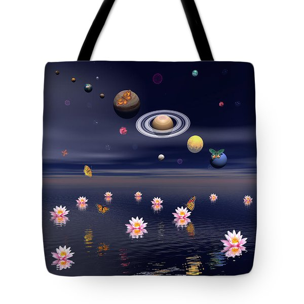 Planets Of The Solar System Surrounded Tote Bag by Elena Duvernay