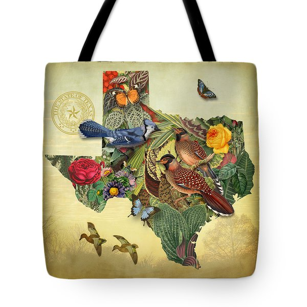 Plant Map Of Texas Tote Bag by Gary Grayson
