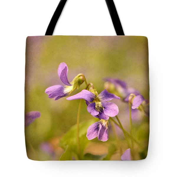Playful Wild Violets Tote Bag by Lois Bryan