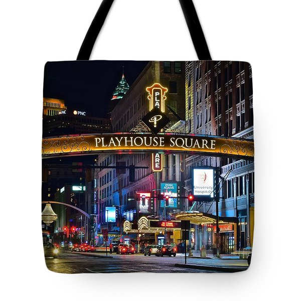 Playhouse Square Tote Bag by Frozen in Time Fine Art Photography