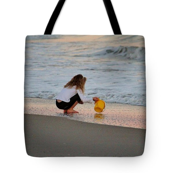 Playing In The Ocean Tote Bag by Cynthia Guinn
