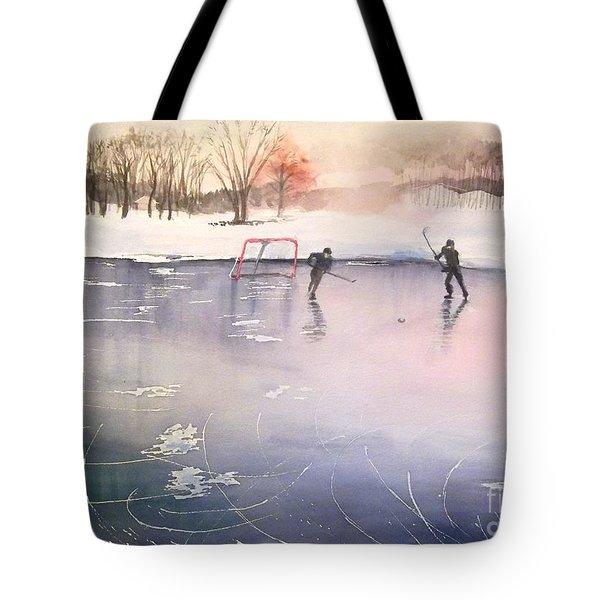 Playing On Ice Tote Bag by Yoshiko Mishina