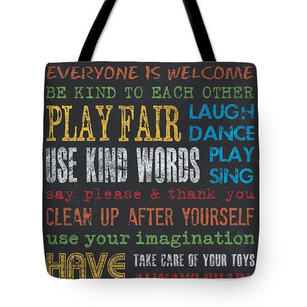 Playroom Rules Tote Bag by Debbie DeWitt