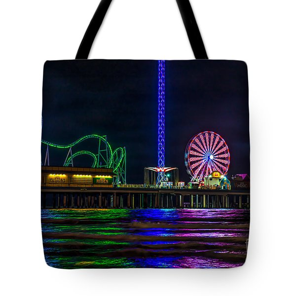 Pleasure Pier At Night Tote Bag by Tod and Cynthia Grubbs