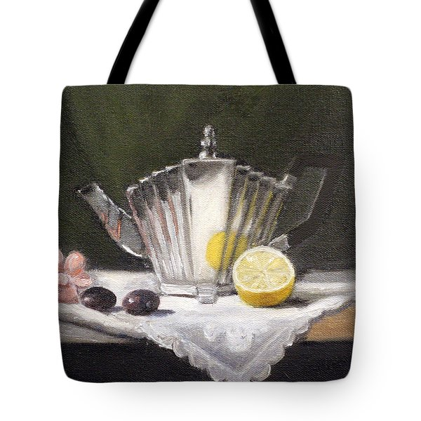 Pleated Teapot with Lemon Tote Bag by Sarah Parks
