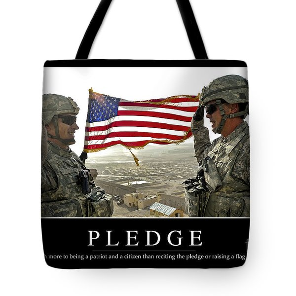 Pledge Inspirational Quote Tote Bag by Stocktrek Images