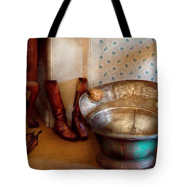 Plumber - Bath Day Tote Bag by Mike Savad
