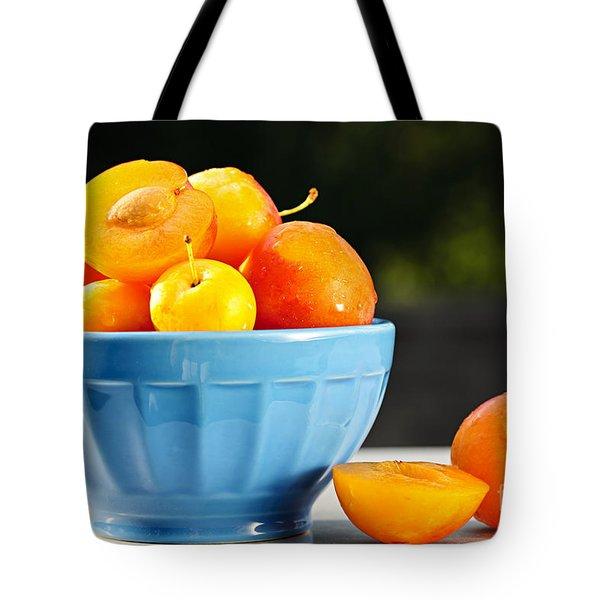 Plums In Bowl Tote Bag by Elena Elisseeva