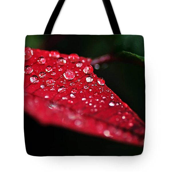 Poinsettia Leaf with Water Droplets Tote Bag by Kaye Menner