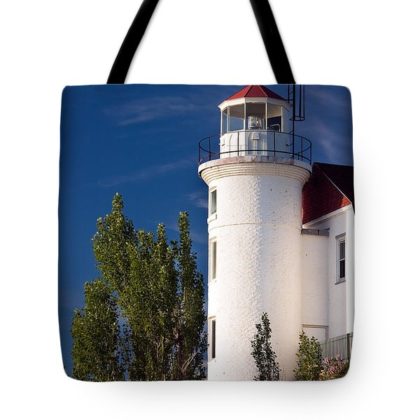 Point Betsie Lighthouse Michigan Tote Bag by Adam Romanowicz