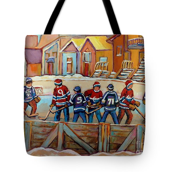 Pointe St. Charles Hockey Rinks Near Row Houses Montreal Winter City Scenes Tote Bag by Carole Spandau