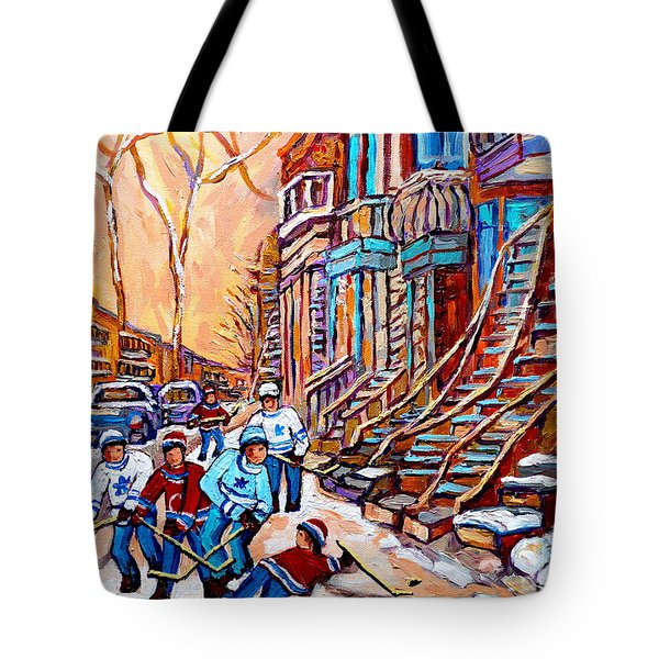 Pointe St.charles Hockey Game Near Winding Staircases Montreal Winter City Scenes Tote Bag by Carole Spandau