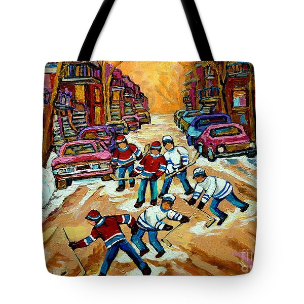 Pointe St.charles Hockey Game Winter Street Scenes Paintings Tote Bag by Carole Spandau