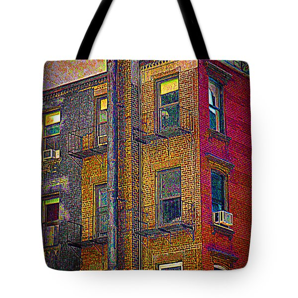 Pointillism In Steel And Brick Tote Bag by Miriam Danar