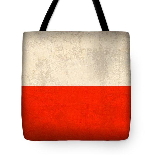 Poland Flag Distressed Vintage Finish Tote Bag by Design Turnpike