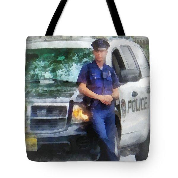 Police - Policeman By Patrol Car Tote Bag by Susan Savad