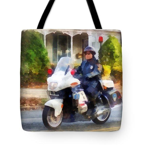 Police - Suburban Motorcycle Cop Tote Bag by Susan Savad