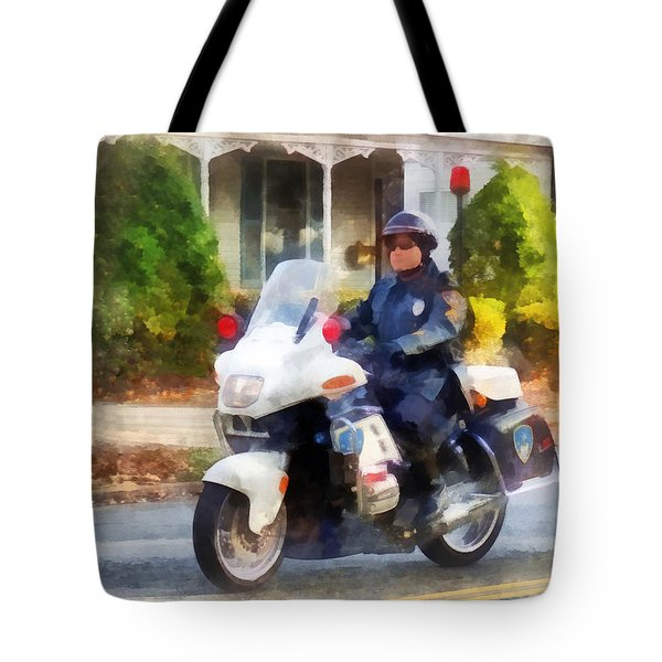 Police - Suburban Motorcycle Cop Tote Bag by Susan Savad