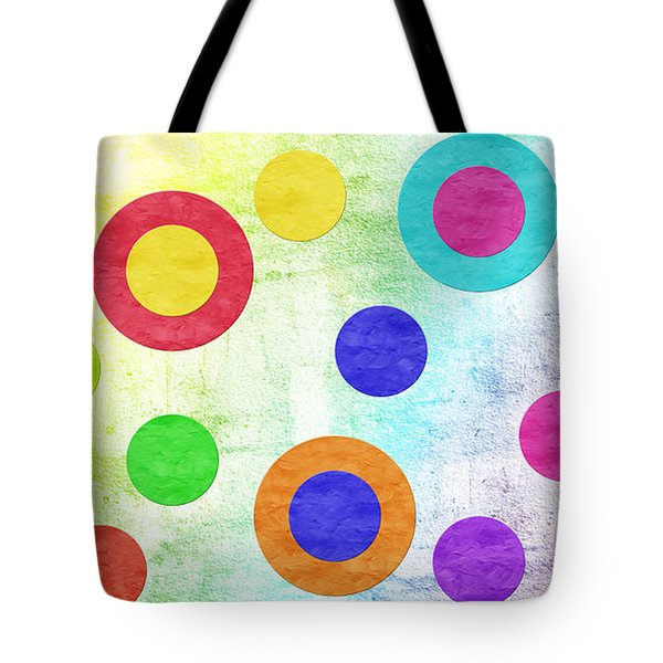 Polka Dot Panorama - Rainbow - Circles - Shapes Tote Bag by Andee Design