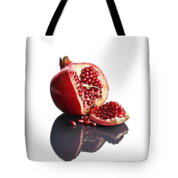Pomegranate Opened Up On Reflective Surface Tote Bag by Johan Swanepoel