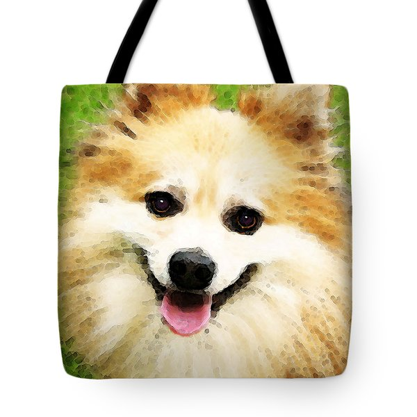 Pomeranian - Bright Eyes Tote Bag by Sharon Cummings