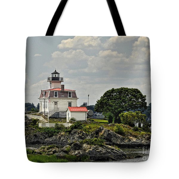 Pomham Rocks Lighthouse Tote Bag by Nancy  de Flon