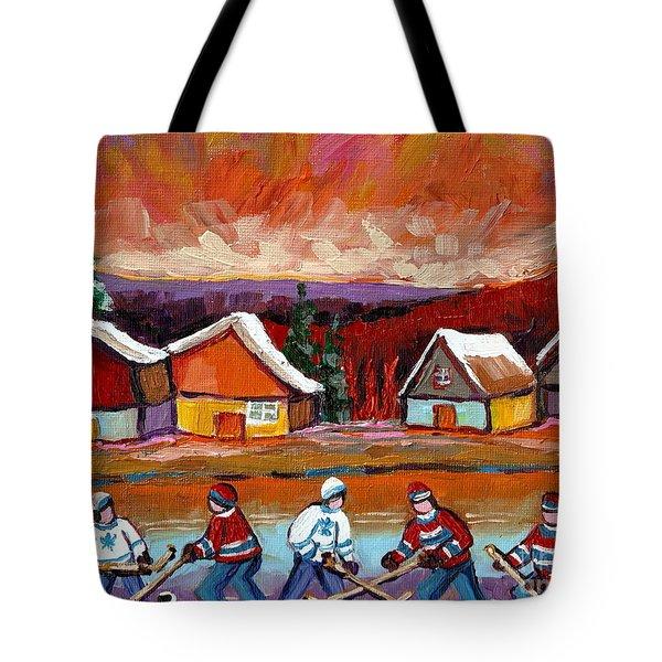 Pond Hockey Game 2 Tote Bag by Carole Spandau