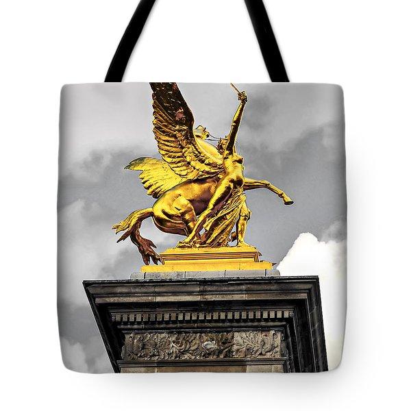 Pont Alexander III fragment in Paris Tote Bag by Elena Elisseeva