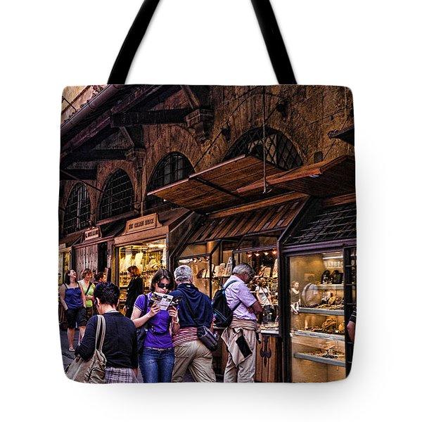 Ponte Vecchio Merchants - Florence Tote Bag by Jon Berghoff