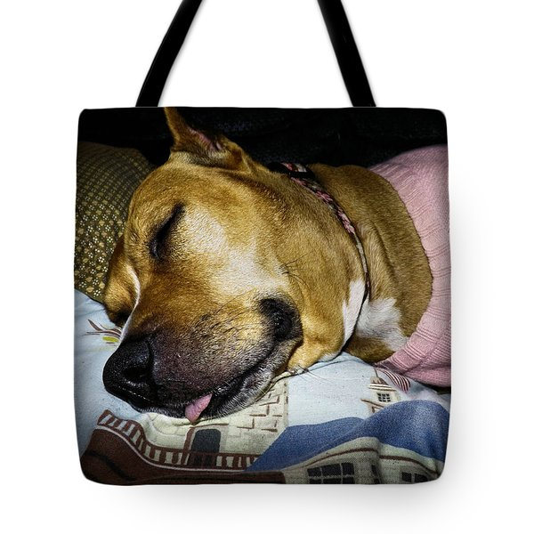 Pooped Pup Tote Bag by Robyn King