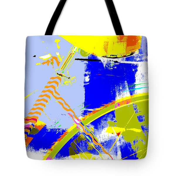 Pop Art Bicycle in Blue and Yellow Tote Bag by Anahi DeCanio