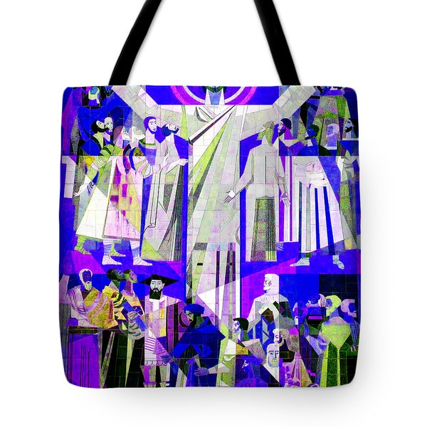 Pop Art Touchdown Jesus Mural At N D U Main Library Tote Bag by Tina M Wenger
