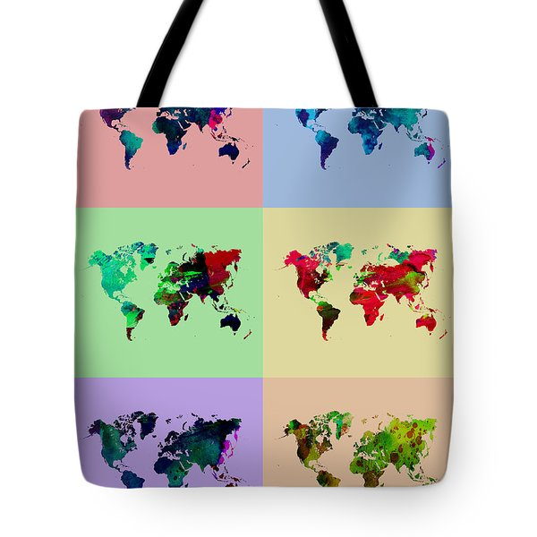 Pop Art World Map Tote Bag by Naxart Studio