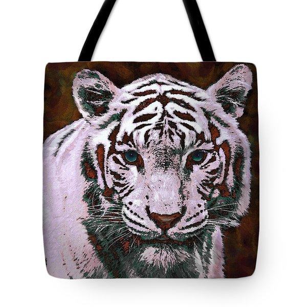 Popart White Tiger- Larger Tote Bag by Jane Schnetlage