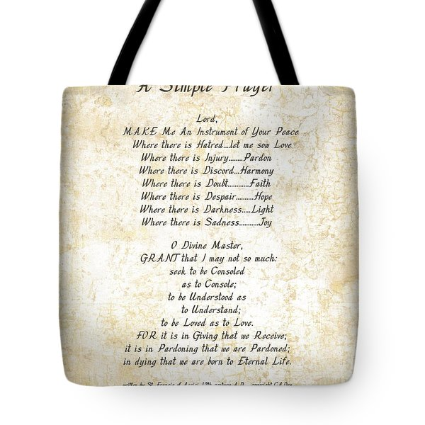Pope Francis St. Francis Simple Prayer Butterflies Tote Bag by Desiderata Gallery