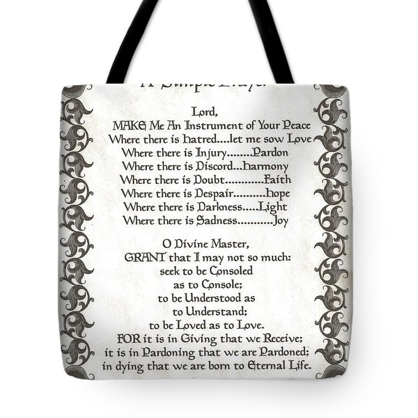 Pope Francis St. Francis SIMPLE PRAYER Faith on Fleury Tote Bag by Desiderata Gallery